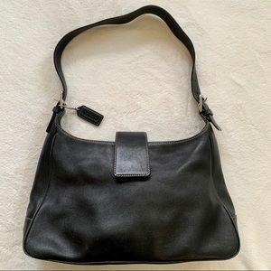 Coach black leather shoulder bag.